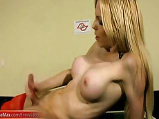 Blonde Ts Beauty With Bigtits Jerks Off Monstercock And Cums