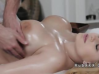 Babe, Blonde, Blowjob, Busty, Fucking, Hardcore, Hugetit, Massage, Oiled, Tied