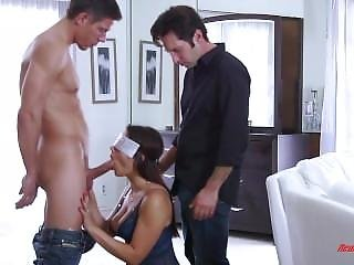 Blindfolded Wifes First Threesome