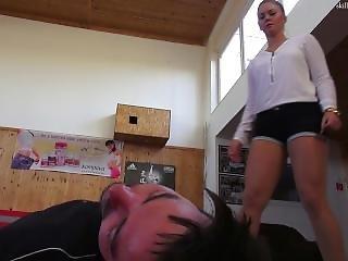 Sexy Legged Girl Busts Balls In Self Defense Scenario
