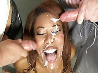 Kymora Lee Gets Gangbanged By Many White Guys