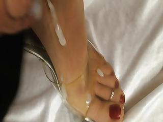 Cum On Nylon Heels Feet