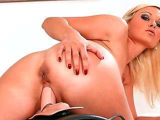 Kathy Sweet Rides Her Sybian Machine Rubs Her Wet Pussy