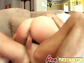 Curvy Blonde Gets Double Penetration On Couch