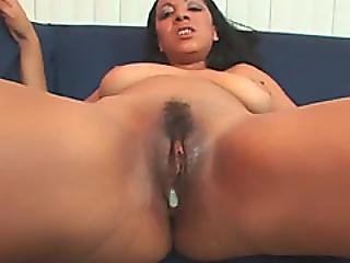Black Slut Blows Cock And Gets Pounded On Couch