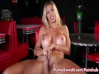 Puma Swede Strips Out Of Stockings To Cum%21