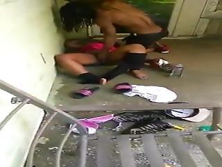 Drunk Ebony Milf Dogged Outside Bareback