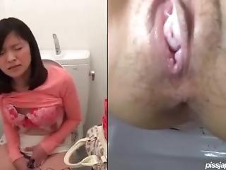 At Toilet Masturbating Until Squirting