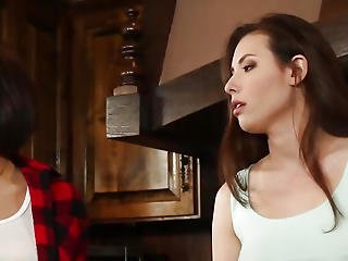 Lesbian Models Pussyeating In Kitchen