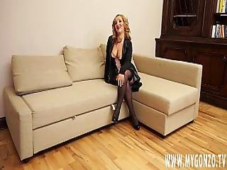 Blonde European Teen Girl Gets Fucked And Pissed On By Her Casting Agent