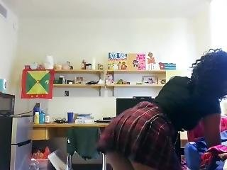 Petite Ebony Twerks In College Dorm