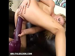 Amazing Blonde Allison Pierce Bouncing On A Giant Dildo