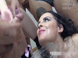 Premium Bukkake Lola Swallows 51 Huge Mouthful Cum Loads