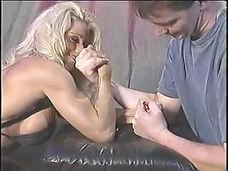 Bikini Blonde Armwrestling