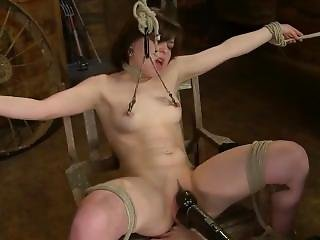 Tied To A Chair, Legs Wide Apart, Vibrated & Dildo Fucked: J.ooleyette