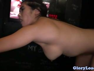 Busty Glory Hole Blowjob Skank Facialized