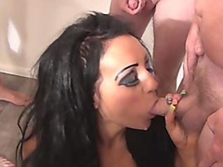 Sexy Brunette Girl Slurping Fat Dicks