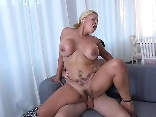 Busty Blonde Milf Fucks A Young Man