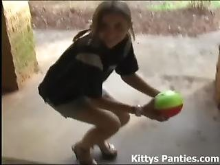 Cute Teen Kitty Wants To Play Football