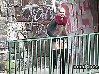 Hot Tits Blonde Touches Herself As She Pees