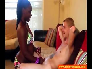 Ebony Bikini Babe Tugs White Meat