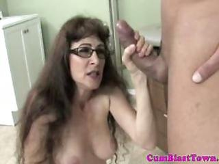 Cum Loving Granny Being Goo Showered