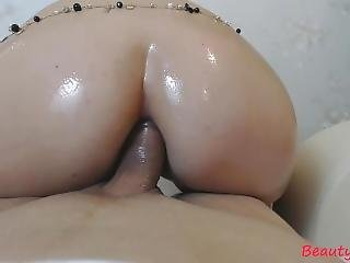 Oiled Brunette Amateur Gives Rimjob, Blowjob. Anal Fucked, Facial Cum