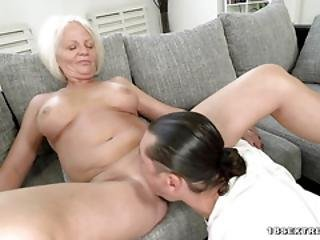 Blonde Grandma Masturbates And Gets Fucked