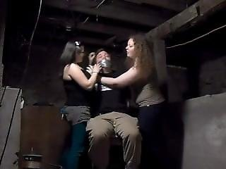 Two Women Bound And Gag With Duct Tape On Chair A Man