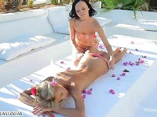 Gorgeous Babes Have Outdoor Lesbian Sex After A Relaxing Massage