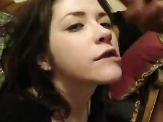 White Teen Gets Cumshot Facial While Doing Duck Face