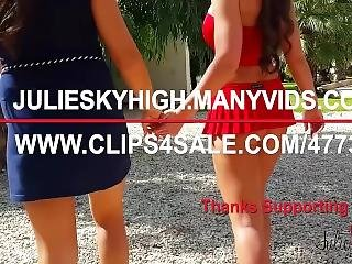 Aida Sweet And Julie Skyhigh Play Tennis With 13cm High Heels And Miniskirt