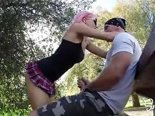Pink Hair School Girl Quickie Fuck And Swallow In Public Park