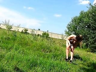 Naughty In Car,dirty Foot In Nature