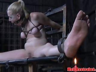 Restrained Sub Caned And Dildo Fucked By Maledom