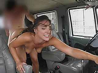 Sweaty Brunette Babe Gets Fucked In The Fake Cab
