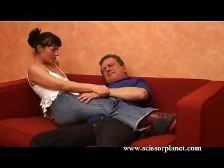 German Woman In Tight Jeans Scissors Man
