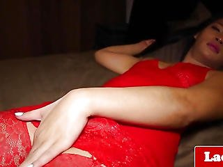 Pigtail Tranny Angel Solo Tugging Hard Ramrod