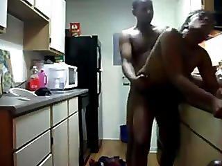 Ebony Couple Fuck In The Kitchen