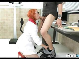 Redhead Female Doctor Takes A Break For Cock