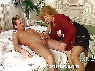 tante, blonde, champagne, fétiche, mature