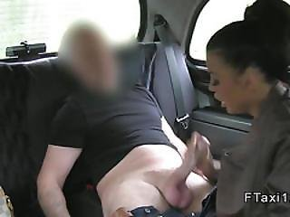 Busty Tattooed Hottie Fucks In Cab