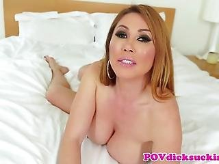 asiat, blowjob, bryst, kneppe, lotion, milf, oral, pov, sex, sutter, bryst fuckning