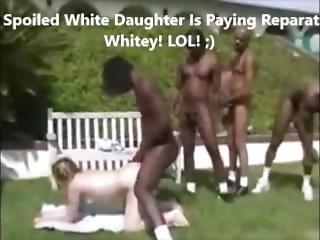 Racist Black Men Force White Girl To Do Blowbang Bukkake