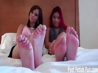 Wiggling And Spreading Our Toes While You Jerk Off