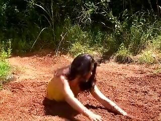 Bikini Girl Sinks In Quicksand
