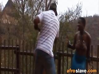 africano, bdsm, teta, tetona, afuera de, esclava, tortura