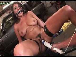 Chained Slut Getting Huge Dildos