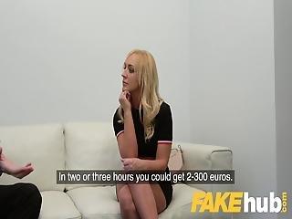 Fake Agent Shy British Blonde Amber Deen Sucks Big Cock