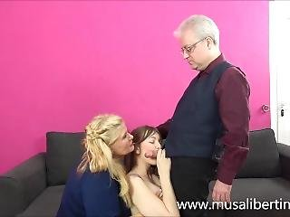 Family Threesome With The Old Butler (musa Libertina And Denise Martin)